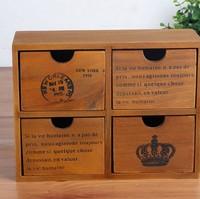 1PC Zakka grocery retro wooden storage box with 4 drawer wholesale home finishing storage cabinets JL 0947