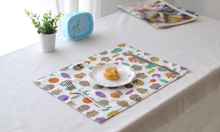 [RainLoong] Double Owl Print Table Mat Pad Thermal Insulation For Restaurant Dinning Bar ...
