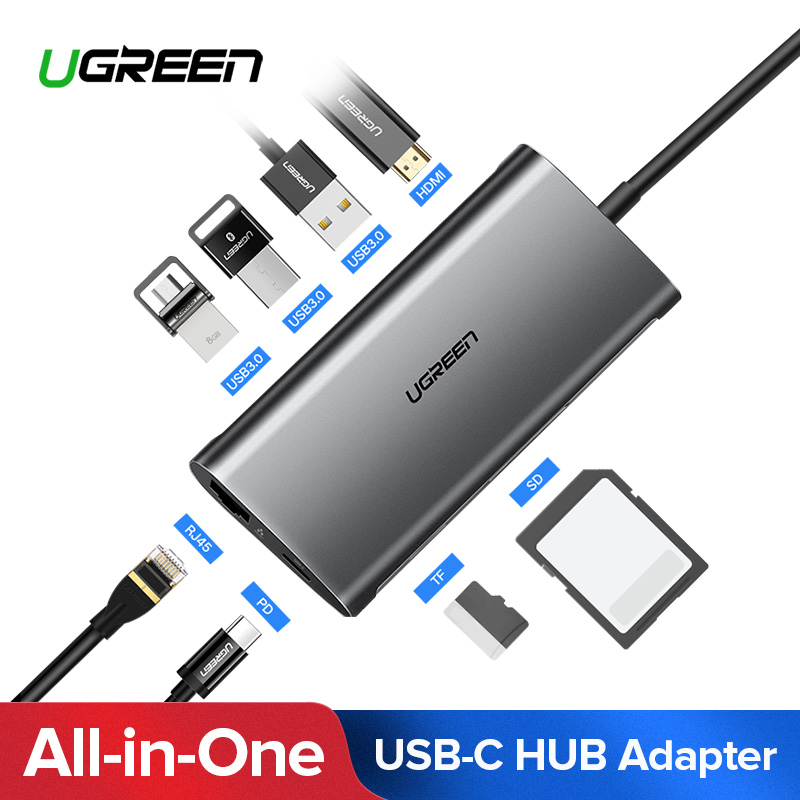 Ugreen USB HUB USB C к HDMI RJ45 Thunderbolt 3 адаптер для MacBook samsung Galaxy S9 huawei Коврики 20 P20 pro Тип C USB 3,0 хаб