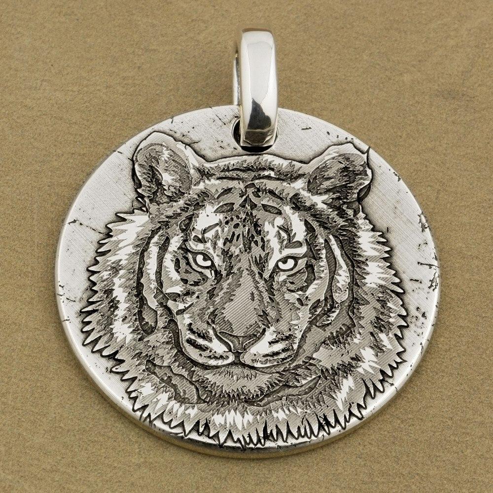 цена на Deep Engraved 999 Sterling Silver Tiger King Sharp Claws Biker Pendant 9X040A JP