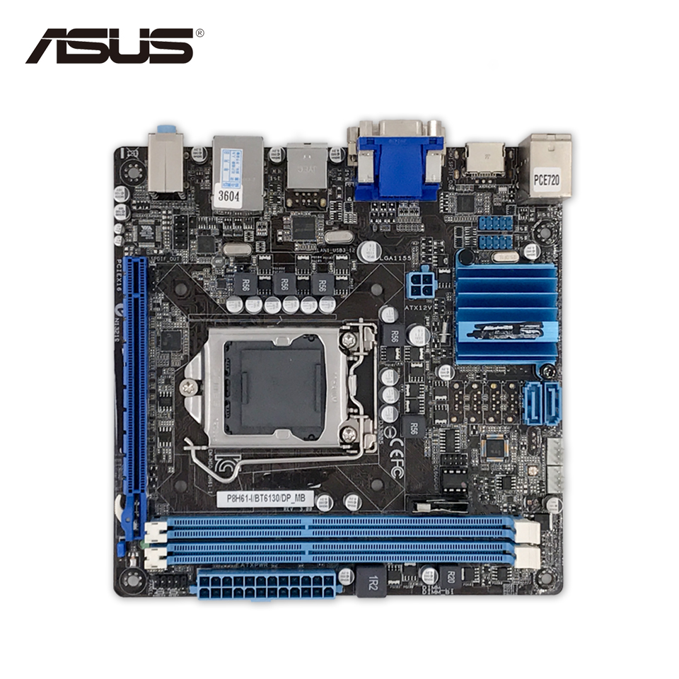 Asus P8H61-I DP Desktop Motherboard H61 Socket LGA 1155 i3 i5 i7 DDR3 16G SATA3 Mini-ITX Second-hand High Quality kingsons women black laptop backpack daily rucksack men computer bagpacks mochila feminina bag school bags men s backpack