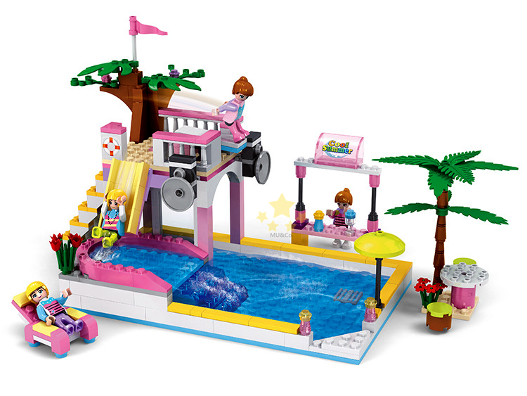 Cogo friends series swimming pool 14514 302 pcs building for Piscina lego friends