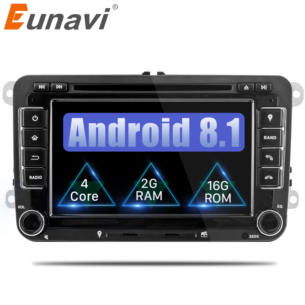 цена на Eunavi 2 din gps Quad Core android 8.1 car dvd player TV For VW Skoda POLO GOLF 5 6 PASSAT B6 CC JETTA TIGUAN TOURAN Fabia Caddy