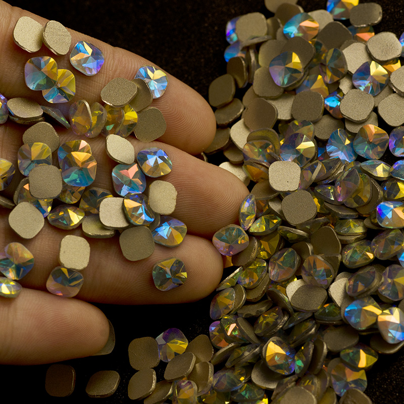YANRUO 72 stks 6mm Crystal AB Regenboog Platte achterkant Vierkante - Nagel kunst - Foto 1