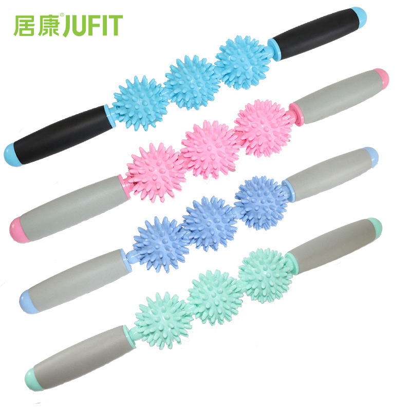JUFIT Yoga Exercise Roller Eliminate Fat Lose Weight Muscle Roller Stick Leg Body Back Muscle Trigger Point Massager Stick