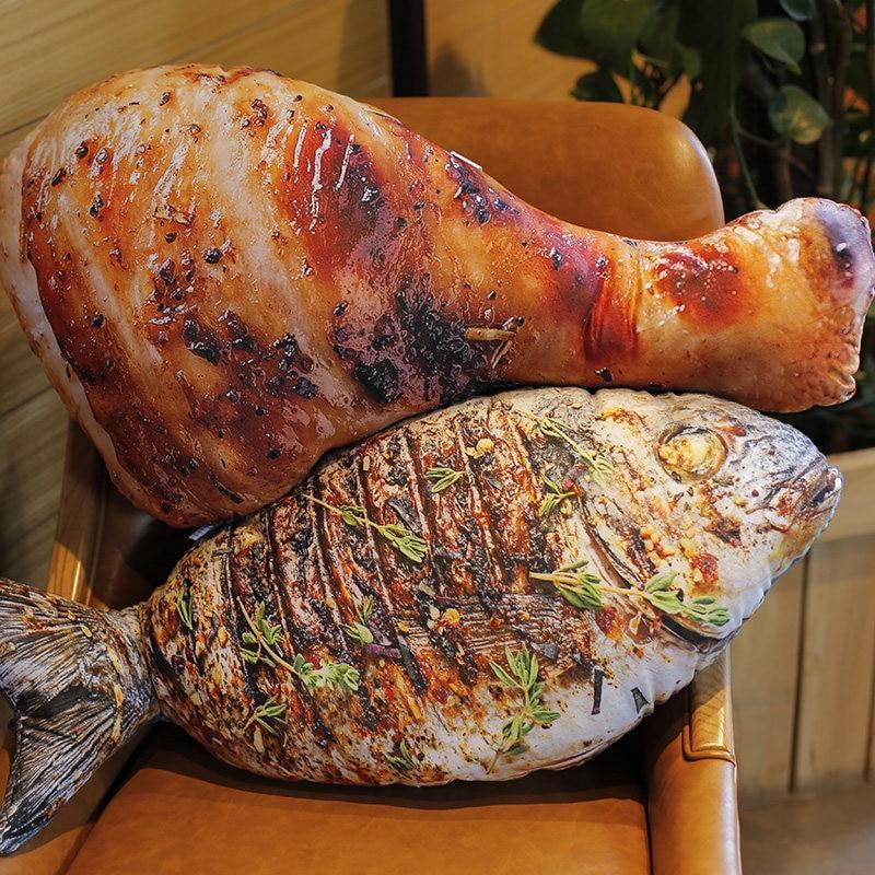 HTB1ySfEj8jTBKNjSZFDq6zVgVXab 3D Simulation Food Shape Plush Pillow Creative Chicken Sausage Plush Toys Stuffed Sofa Cushion Home Decor Funny Gifts for Kids