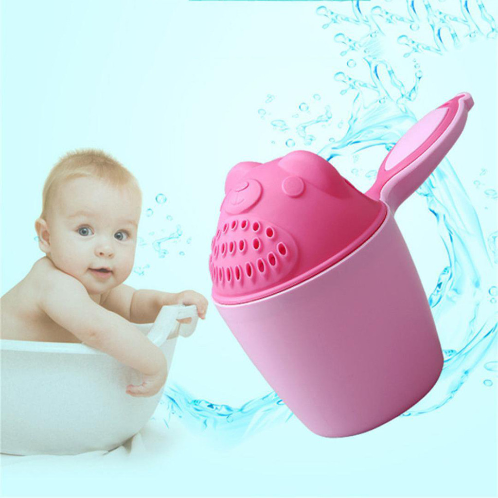 2019 Baby Cartoon Bear Bathing Cup Newborn Kid Shower Shampoo Cup Bailer Baby Shower Water Spoon