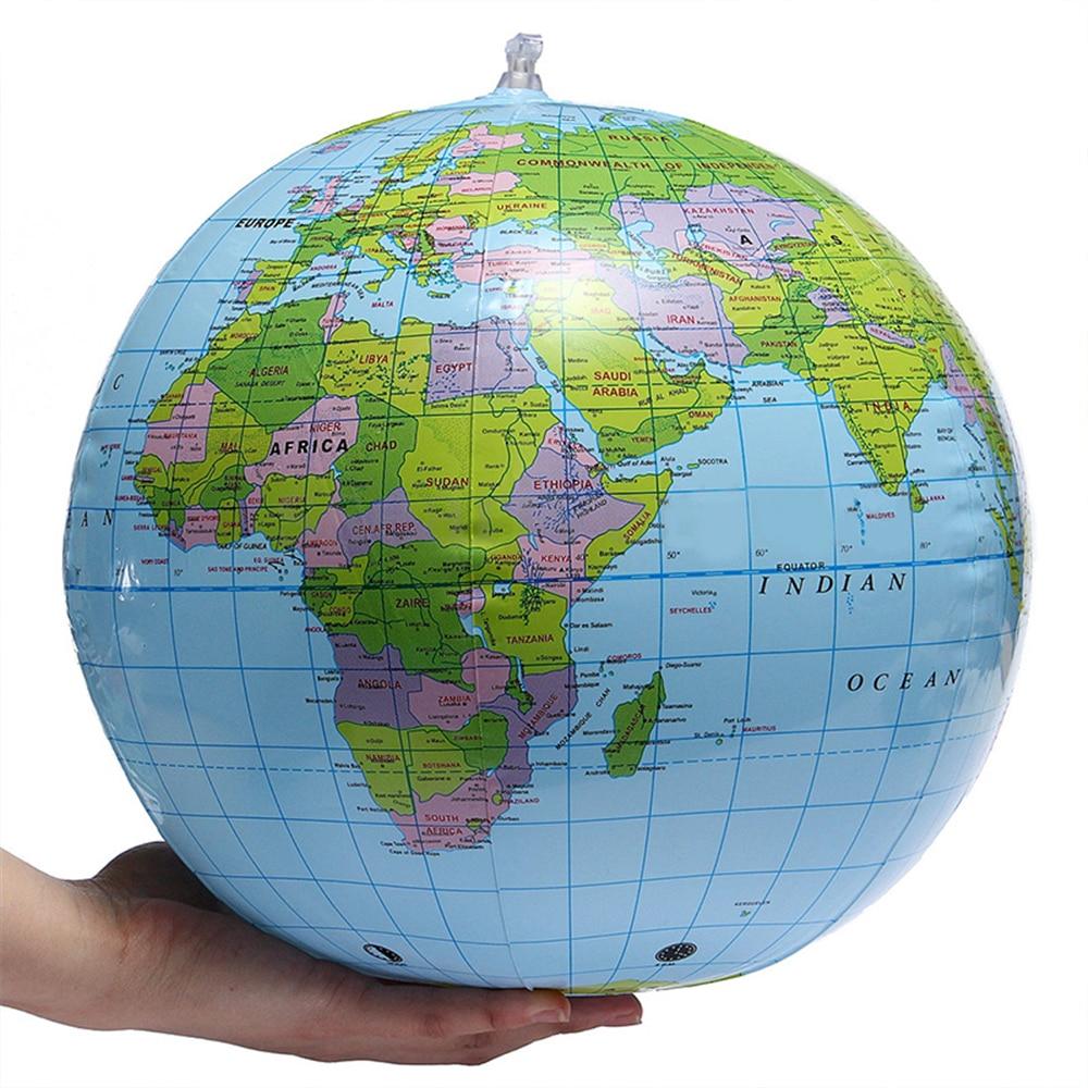 30CM Inflatable PVC World Globe Earth Map Teach Education Geography Toy Map Balloon Beach Ball Beach Halloween Gift