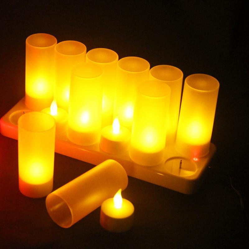 EU/US/UK Plug 12 Bases Light Rechargeable Flickering Flameless Tealight Simulation Electronic Candle Light Led