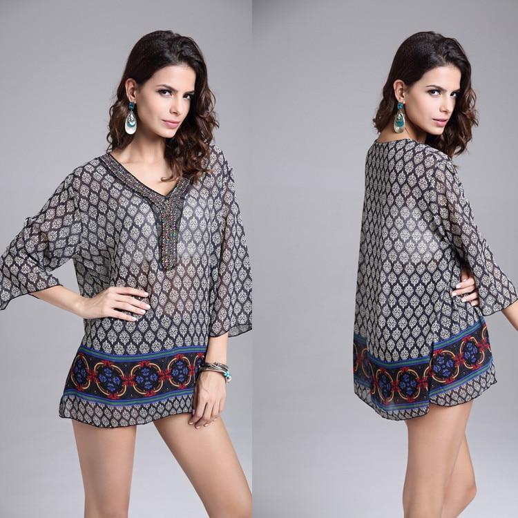 Buy Cheap 2017 Vintage Casual Chiffon Beach Tropical Summer Style Dress Femininas Fashion Print Vestidos De Festa Women Dress