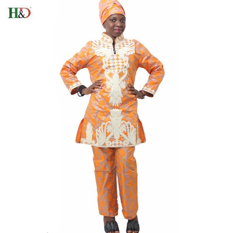 H & D Afrikansk bazin riche broderi design kjole lang topp med bukser - Nasjonale klær - Bilde 2