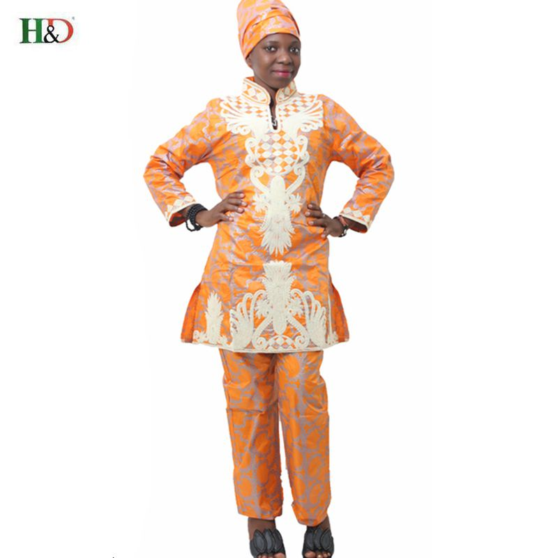 H & D Afrika bazin riche sulaman reka bentuk berpakaian atas panjang - Pakaian kebangsaan - Foto 2