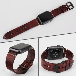 Image 5 - Сменный Браслет MAIKES для Apple Watch Band 44 мм 40 мм 42 мм 38 мм Series 4/3/2/1 iWatch, Красный винтажный браслет из вощеной кожи для часов