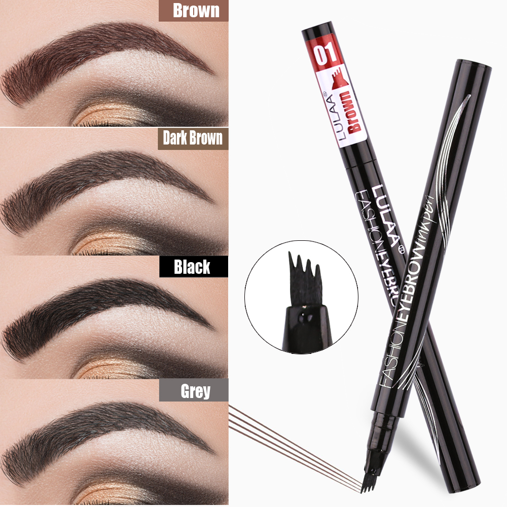 LULAA 6 Color Liquid Eyebrow Enhancer Eyebrow Tattoo Pen Sketch Waterproof Eyebrow Pencil 4 Head Long-lasting Eye Makeup