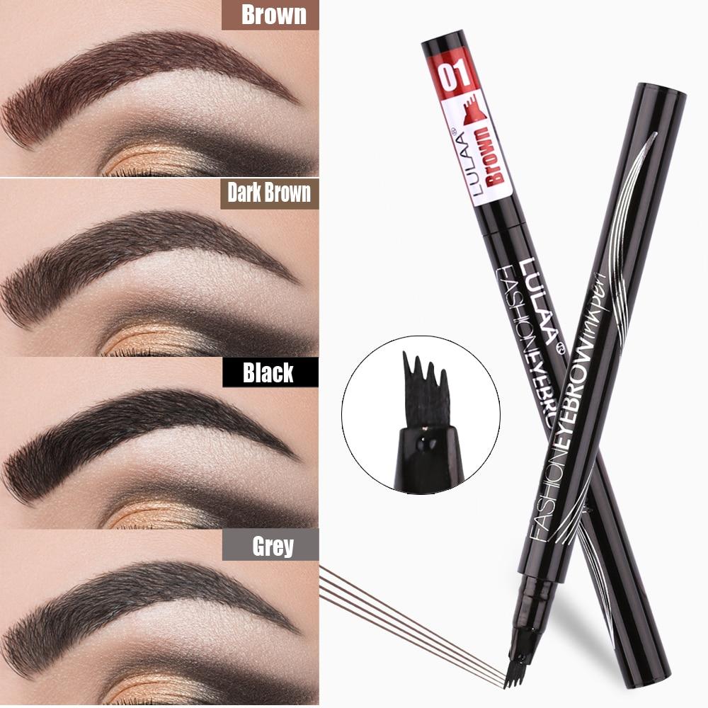 LULAA 6 Color Liquid Eyebrow Enhancer Eyebrow Tattoo Pen Sketch Waterproof Eyebrow Pencil 4 Head Long-lasting Eye Makeup