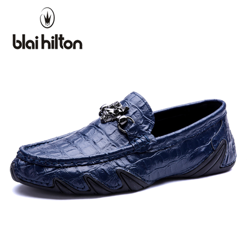blaibilton Summer 2018 Metal Luxury Slip-On Driving Genuine Leather Loafers Men Casual Shoes Fashion Boat Moccasins Top Brand farvarwo genuine leather alligator crocodile shoes luxury men brand new fashion driving shoes men s casual flats slip on loafers
