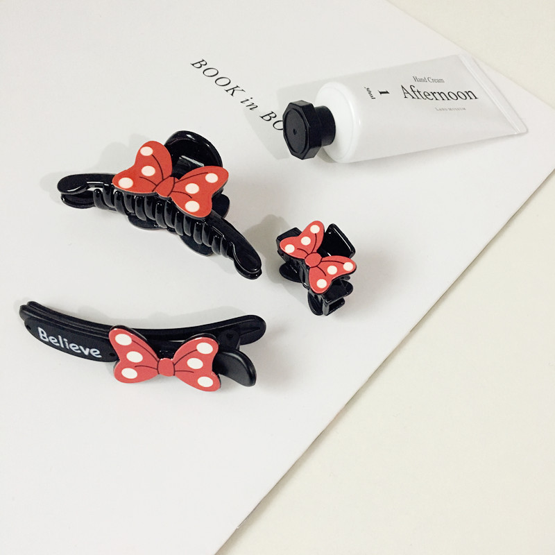 Red Bowknot Lovely Sweet Bowknot Claw Clip Mickey Minnie Yakeli Hairpin Children Women Girls Hair Accessories
