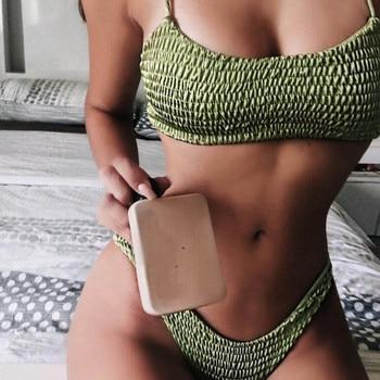 2017 neue Sexy mädchen Bikini Push-Up Plissee dreieck Bademode Frauen Push-Up-Bh Bikini Set Badeanzug Strand Bade Bademode