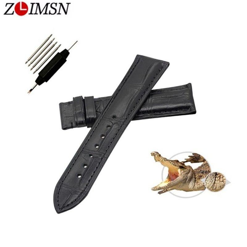 ZLIMSN nouvelle mode affaires véritable Crocodile en cuir bambou bande sangle pour hommes et femmes noir marron 12 MM 14 MM 16 MM 18 MM 20 MM