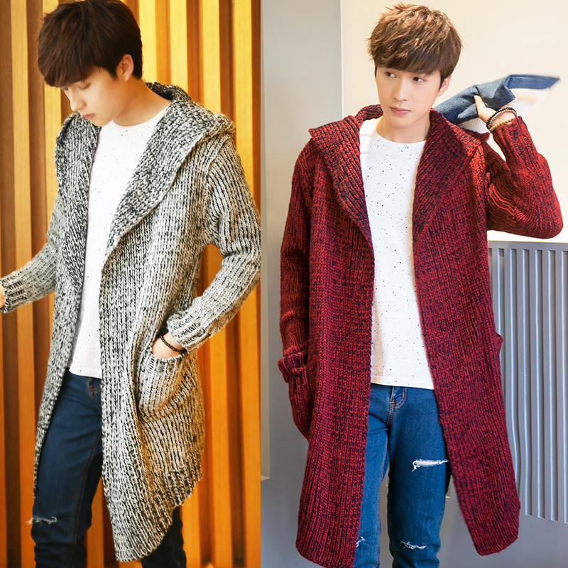 Men Hooded Cardigan Long Sweatercoat Outwear Casual Sweaters  New Men Winter Warm Cardigan Sweater Coat Size 3XL