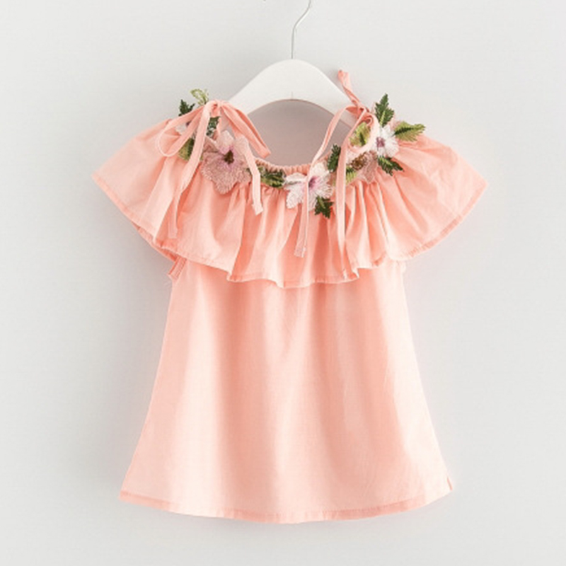 2018 Cute Floral T Shirt for Toddler Girls Embroidery Flowers Short Baby Girl Dresses Ruffle Cotton tshirt Summer Dress Infant