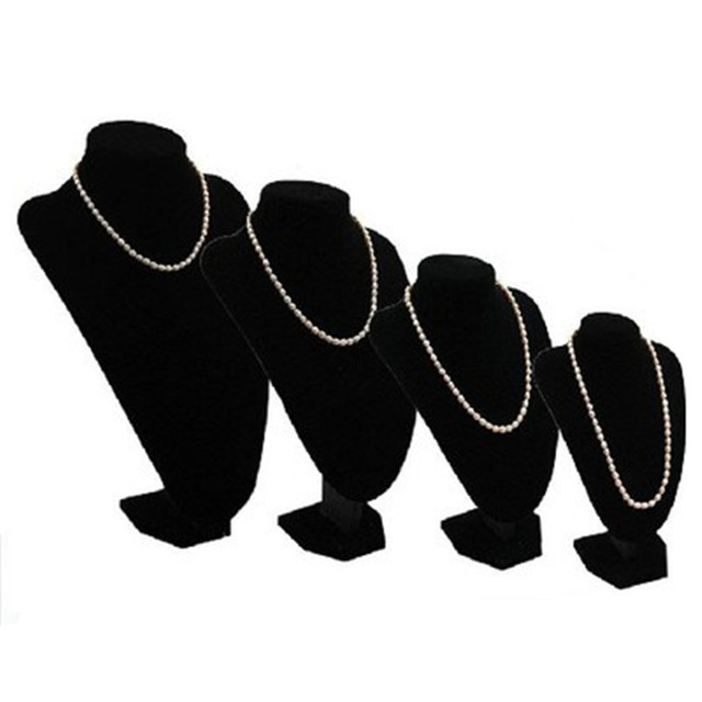 1pcs Small Size Women Lady Girl Velvet Black Mannequin Necklace Jewelry Pendant Display Pedestal Stand Holder Show Decorate