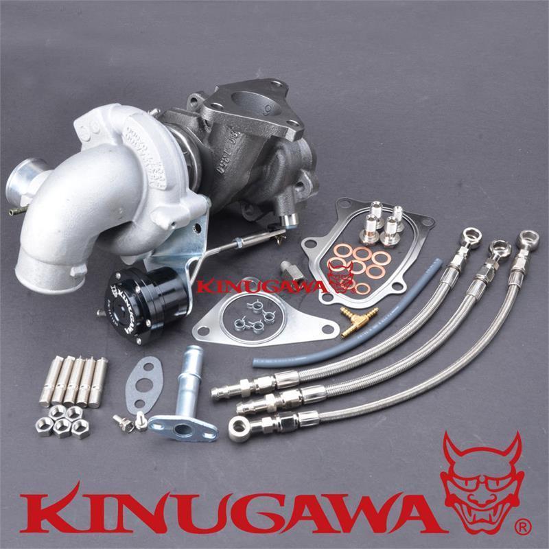 Otomobiller ve Motosikletler'ten Turbo Şarj ve Parçaları'de Kinugawa GTX Billet Turbo TD04L 19T 6 cm 90 Derece Giriş SUBARU Impreza için EJ20 Bolt On title=