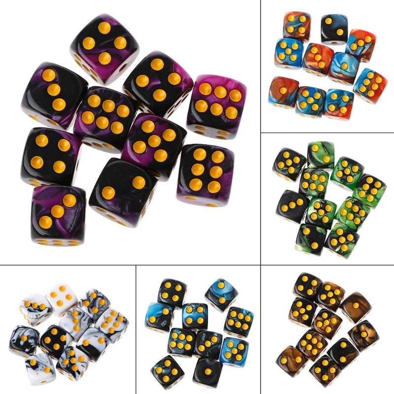 Six Sided 12mm 2-color Dice Cube Round Corner Portable Table Playing Games 10pcs