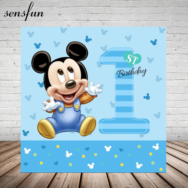 Sensfun Photography Backdrop Blue Baby Mickey Boyss Birthday Party Backgrounds For Photo Studio 7x5FT Vinyl