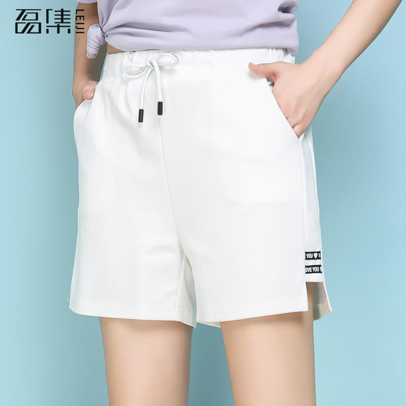 Shorts   Women High Waist Summer Casual Solid Loose Drawstring Harem Wide Leg white black 5xl 6xl