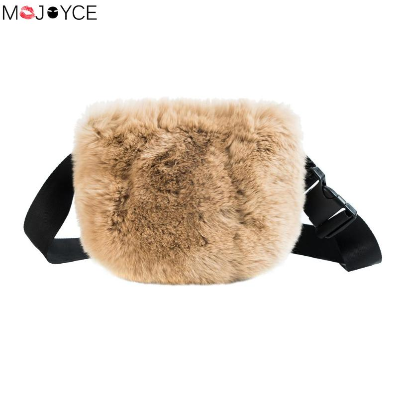 Fashion Autumn Plush Waist Bag For Women Soft Fabric Fanny Chest Packs Gift Bolso New Design Winter Shoulder Bags