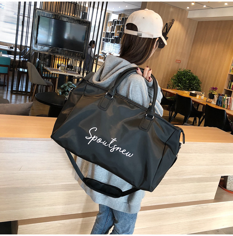 2018 New Letters Print Black Large Gym Bag Women Fitness Sports Bag Training Shoulder Bags Travel Yoga Handbag Bolsas De Dulses