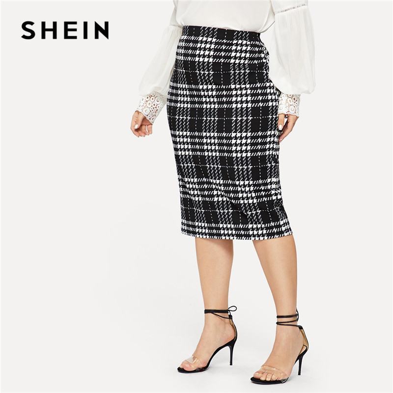 SHEIN Black Solid Women Plus Size Elegant Pencil Skirt Spring Autumn Office Lady Workwear Stretchy Bodycon Knee-Length Skirts