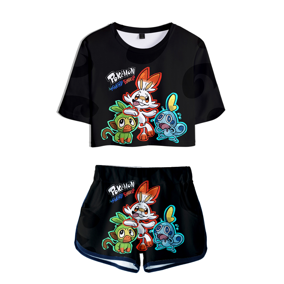 2019 Drop Shopping Pokemon Sword And Shield 2019 New 3D Two Pieces Sets Women Fashion Clothes Girl Hot Harajuku T-shirts Shorts