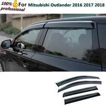 Украшения Стик лампа пластиковые окна стекло Ветер козырек Дождь/Защита от солнца гвардии Vent 4 шт. для Mitsubishi Outlander 2016 2017 2018