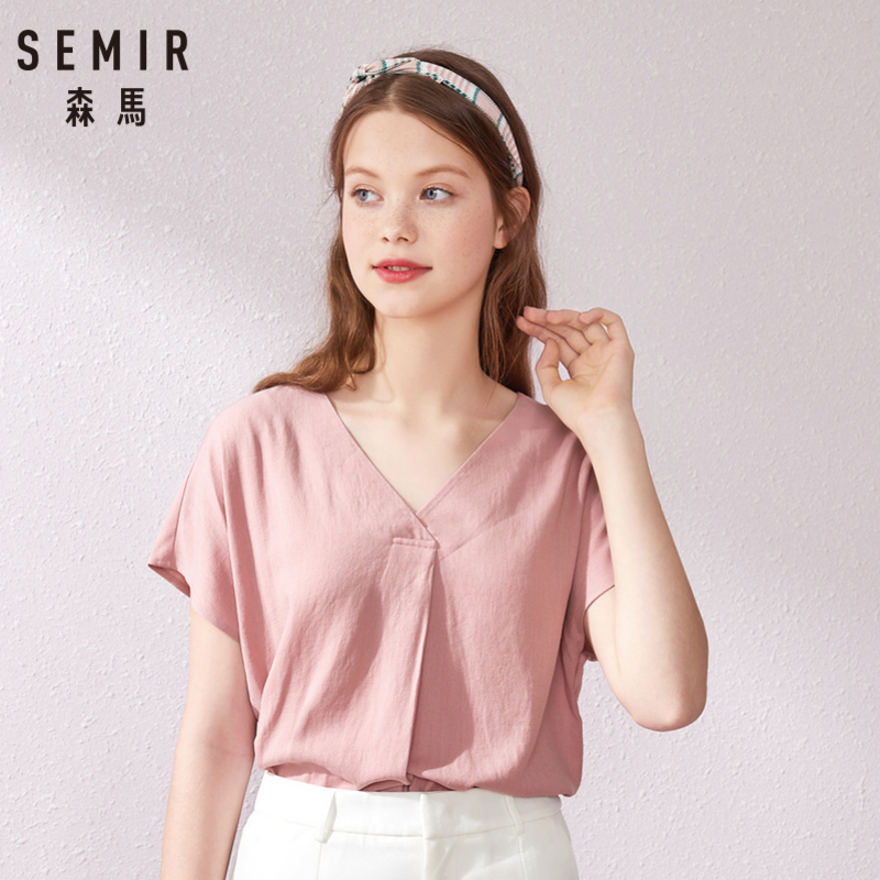 SEMIR Chiffon Shirt Women Blouse Short Sleeve Heart Machine Shirt Design Super Fairy 2019 Summer New Shirt V-neck Strap Tops