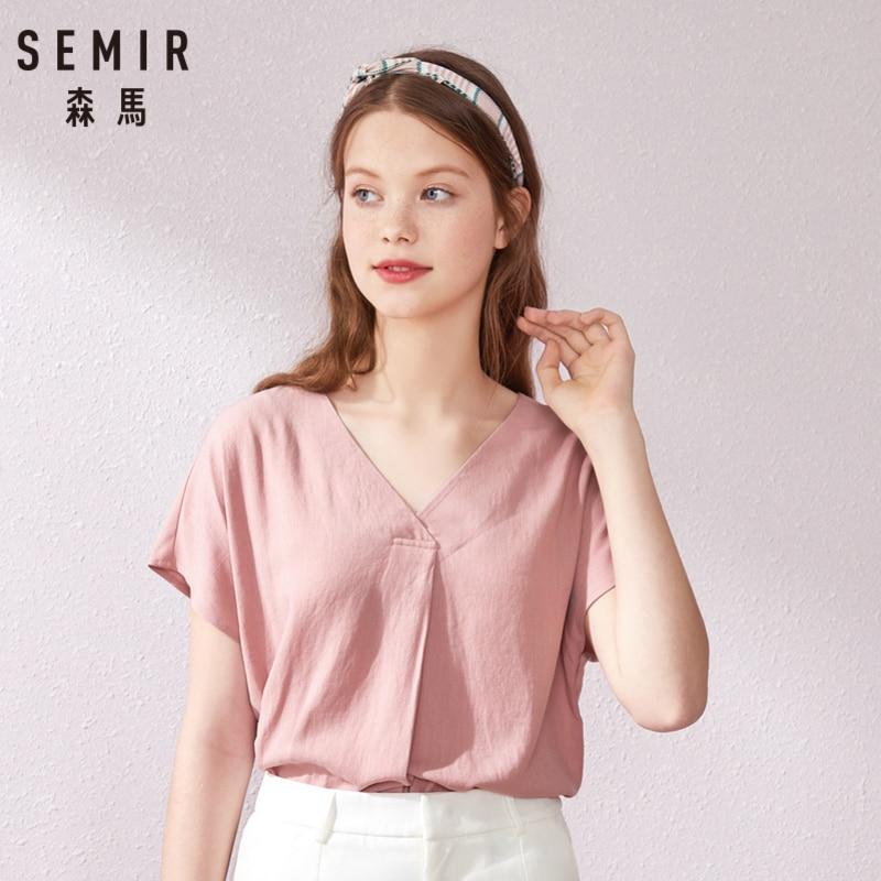 SEMIR Chiffon Shirt Women Blouse Short Sleeve Heart Machine Shirt Design Super Fairy 2019 Summer New Shirt V-neck Strap Tops