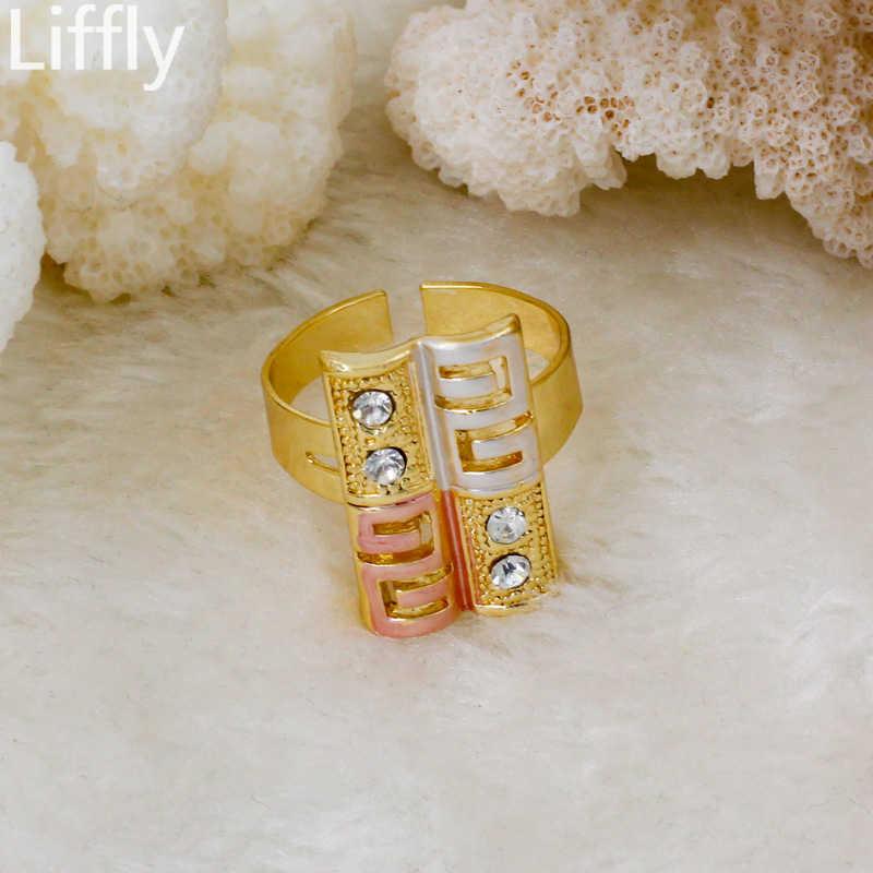 2019 קלאסי חדש אופנה חתונה מסיבת 18 זהב תכשיטי סטי קריסטל שרשרת טבעת עגיל קסם הכלה צמיד אבזרים