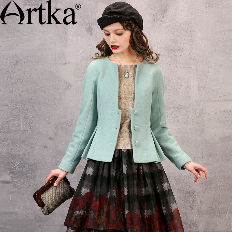 Artka Womens Autumn New 3 Colors Elegant Woolen Coat V-Neck Long Sleeve Cinched Waist Drapped Hem Coat With Sashes WA10069Q