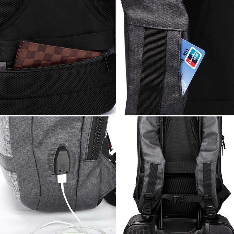 ميس كمبيوتر محمول للأعمال على ظهره عادية USB شحن 14 15.6 بوصة أكياس الذكور مقاوم للماء متعددة الوظائف الكمبيوتر الخلفي حزمة حقيبة السفر
