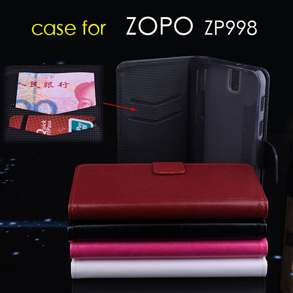 2014 New case for Original Leather Flip Case for ZOPO 998 ZP998 High Quality Smart phone Holdder Flip Cases Cover zp9520