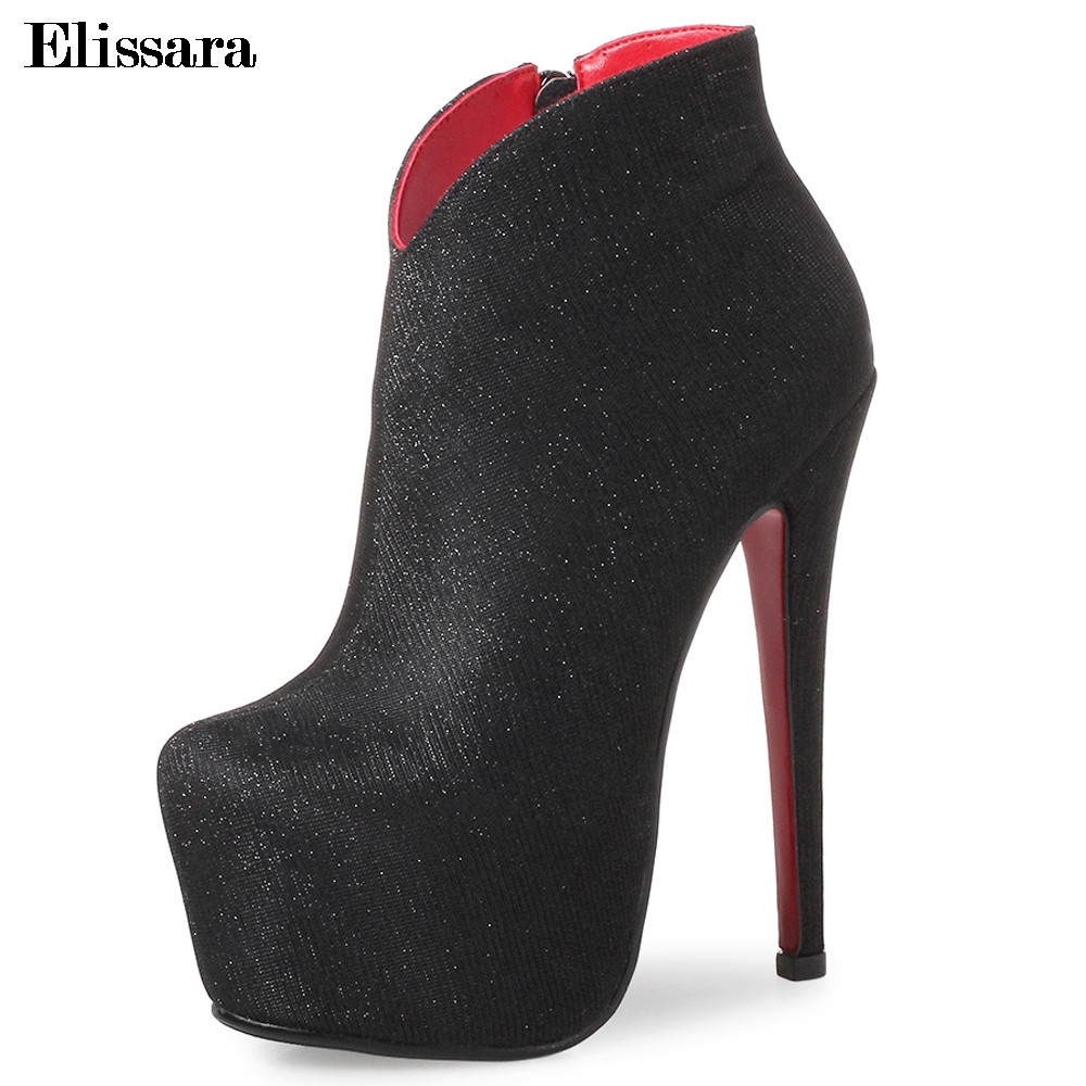 Elissara Women High Heel Ankle Boots Women Sexy Zip Platform Inside Stiletto Heels Ankle Short Boots Shoes Plus Size 33-43 elissara women ankle boots women high heels boots ladies zip high quality denim pointed toe shoes plus size 33 43
