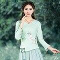 De Las nuevas Mujeres Verde Blanco Rosado Dulce Blusa Sencilla Otoño Primavera Cruz Diseño de Cuello Redondo de Manga Larga Camisa de Lino