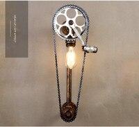 Ретро Бра ресторанов кабинет бар студия магазин одежды выставка Настенные светильники цепи велосипеда декоративные AC110 240V