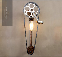 Retro wall lamp Restaurants study room bar studio clothing store Exhibition wall lighting bicycle chain decorative AC110 240V