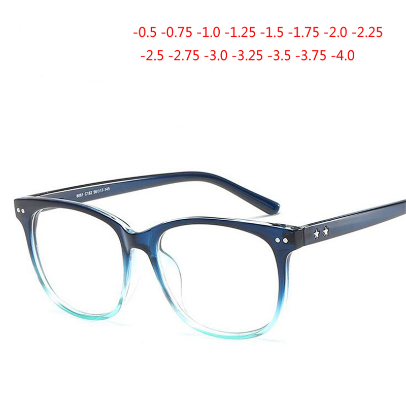 -0.5 -0.75 -1.0 To -4.0 Retro Rivet Finished Myopia Glasses For Women Men Square Frame 1.56 Aspherical Prescription Glasses