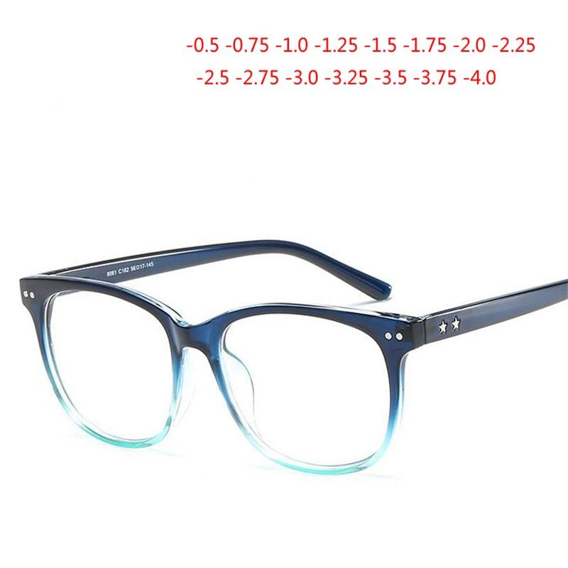 -0.5-0.75-1.0 A-4.0 Rebite Retro Acabados Óculos de Miopia Para Mulheres Homens Quadro Quadrado 1.56 asférica Prescrição Óculos