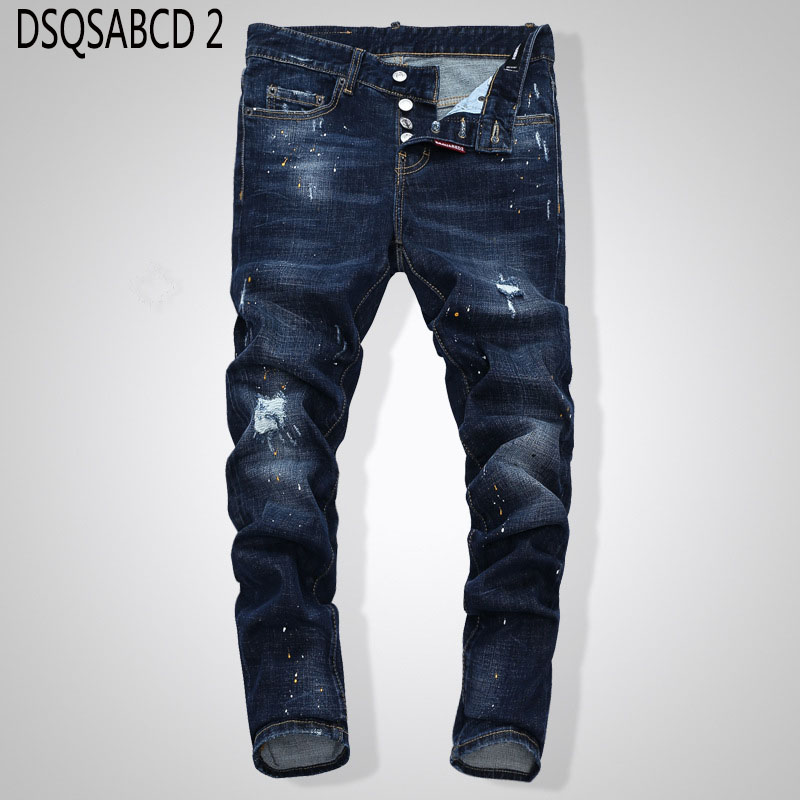 European American Style famous brand   jeans   luxury Men straight denim trousers zipper Patchwork Slim blue hole   jeans   for men