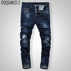 Europese Amerikaanse Stijl beroemde merk jeans luxe Mannen straight denim broek rits Patchwork Slim blue hole jeans voor mannen