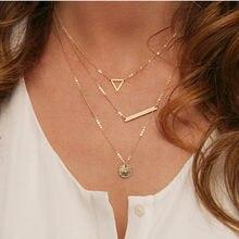 Nk614 verão multicamadas colares triângulo redondo lantejoulas moda multi camada corrente colar para as mulheres todos os dias jóias moda
